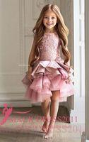 Robes de fille de fleur pour mariage rose dentelle princesse tutu jupe volée 2019 Robe de robe de bal de balle Vintage Enfant Robe de première communion