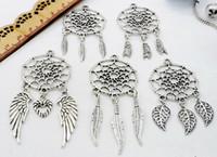 100 adet / grup Vintage Antik Gümüş Dreamcatcher Charms Dangle Kolye Fit Avrupa kolye Takı Yapımı diy
