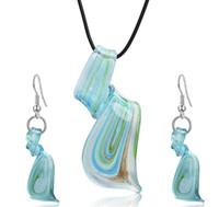 Streamer Glitter Murano Lampe de lampadaire Blown Venetian Verre Pendentifs Colliers et boucles d'oreilles Bijoux Ensembles de la mode à la main Bijoux à la mode