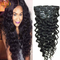 Человеческих волос глубокая вьющиеся клип в наращивание волос глубокая волна Малайзии клип в человеческих волос расширение натуральный черный клип в
