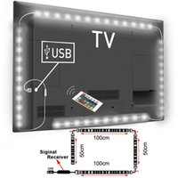 Venta al por mayor: USB alimentado RGB Cambio de color 5050 LED Lámpara de tira Computadora TV Retroiluminación USB Luz Kit Pantalla TV LCD PC de escritorio 2 * 100cm + 2 * 50cm
