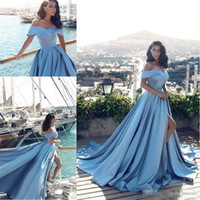 2018 Light Blue Off the Shoulder High Slits Evening Dresses ...