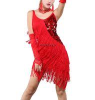 1920 Thème Paso Doble Latin Costumes Robes Vêtements Vêtements Tenues Fringe Sequin 1920 Années 20 Gatsby Thème Prom robes de soirée Costumes