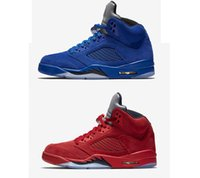 5s new Classic 5 flight suit red blue suede white cement cam...