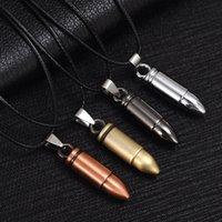 Los hombres de acero de titanio Collares bala cadena de cuero colgante collar de joyería de las mujeres