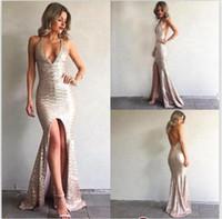 Paillettes Mermaid Prom Dresses sexy scollo a V abito da sera scollato sulla schiena Split Gowns partito della celebrità anteriore 2017 BA6840