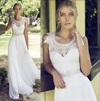 2019 Nuevo vestido de novia de playa Encaje de gasa blanco con vestidos de novia sin mangas de cristal Vestidos largos de Novias Sposa Novias Vestido de novia de verano
