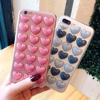 3D Love Hearts Glitter Powder Bling Cover Phone Case For iph...