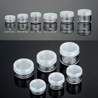 3g 5g 8g 10g 15g 20g de plástico transparente Cosmetic Container frascos com PE Tampas Cosmetic Cream Pot Maquiagem Sombra Nails Pó Garrafa Jóias