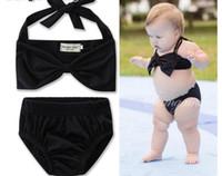 Yıldız Bebek Varış Çocuklar Çekici Adet Mayo Bebek Kız Bikini Spor Mayo Çiçek Çizgili Büyük Yay Mayo Beachwear Q0913