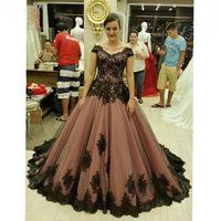 Günstige Plus Size kurze Ärmel Vintage-Medieval Gothic Victorian Lace Partei lila Brautkleider Ball Brautkleider Spitzen-up
