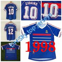 Toptan 1998 Retro Frances Futbol Formaları Ev En Tayland 3AAA Customzied Adı Numarası Zidane Henry Futbol Üniformaları Futbol Gömlek
