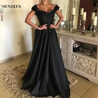 A-line V-Ausschnitt Schulterfrei Schwarz Abendkleider Lange Satin Formelle Kleid mit Blumen Strass Party Kleid China Online-Shop Kostenloser Versand
