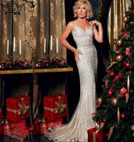 Robe De Soiree Abendgesellschaft Kleid Real Fotos Nude Farbe Tüll Crystal Royal Blue Party Anlass Formales langes Abendkleid