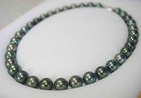 Freies Verschiffen 18inch 9-9.5mm Tahitianische schwarze Perlenkette