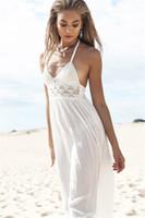 Nouvelles robes d'été femmes Halter Sexy dentelle robe de plage en mousseline de soie couleur blanche