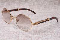 Occhiali da sole rotondi Bestiame Corno Eyeglasses 7550178 Peacock Colore Legno Uomini e donne Occhiali da sole Glasses Eyewear Dimensioni: 55-22-135mm
