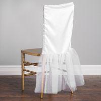 Livraison gratuite 50 pcs Nouveau design Tulle Tutu / organza satin Housse de chaise Chaise Chiavari Cap pour la décoration de mariage