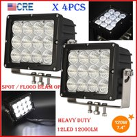 """DHL 4PCS 7.4"""" 120W CREE Chips LED Work Driving Off-Road Light 12LED*10W Square Spot Pencil / Flood Spread Beam 12000LM 10-60V SUPER Bright"""