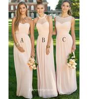 Erröten rosa Farbe Brautjungfer Kleid Mode fünf Stile Falten Chiffon lange Trauzeugin Hochzeitsgast Kleid nach Maß plus Größe