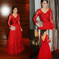 Sexy V- Neck Long Sleeves Backless Prom Dresses Red A- line Fu...