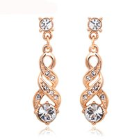 Water Stud Earrings Rose Gold & Silver Color Jewelry E725
