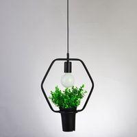 Pendelleuchte Restaurant Beleuchtung hängen Lampen Geometrische Pflanzen Topf Eisen Square Runde Suspension Kronleuchter für Dekor Restaurant