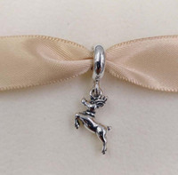 Christmas Day Gift 925 Silver Beads Reindeer Pendant Charm F...