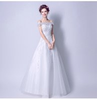 Ready To Be Sent Lace Pearl Off Sleeves A Line Wedding Dress...