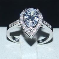 Gioiello Bohemian delicato bianco a forma di pera Anello di diamanti da dito Moda 10KT bianco oro da sposa riempito anelli per le donne regalo