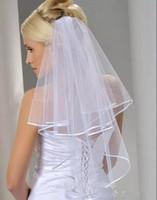 Stokta Ucuz Tül Beyaz Gelin Veils 2016 ile Tarak Dirsek Uzunluğu Iki Katmanlı Şerit Kenar Düğün Aksesuarları Yeni Varış