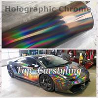 1,52 x 20 m Silber Schwarz Holographische Laser Chrom irisierende Vinylfolie Car Wrap mit luftfrei / 2 Farben erhältlich