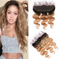 """Brasilianische T1B / 27 Honig Blonde Ombre Jungfrau Menschliches Haar 13x4 Full Lace Frontal Schließung 8-24 """"Hellbraun Ombre Ohr zu Ohr Frontals"""