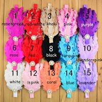 Fashion Baby girls feather Pearl Rhinestone headbands Childr...