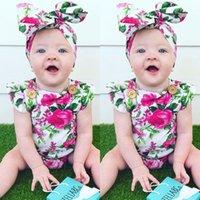 Minal Baby Girls Rompers Летние Цветочные Rompers + Headhand 2 Шт. Набор Baby Girls Modern Flower Комбинезон одежды Одежды 0-24м