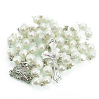 Collana di perle nero / bianco Catena di oro bianco Collana per uomo di rosario 6mm Collana di gioielli croce religiosa regalo di Natale