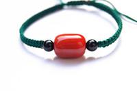 سلسال اليد ، دليل نقية النسيج الأخضر الداكن عقدة مربع + 1 حبات العقيق الأحمر سوار محظوظ
