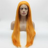 Iwona Haar Gerade Extra Lange Orange Perücke 22 # 3200 Halbe Hand Gebunden Hitzebeständige Synthetische Lace Front Perücken