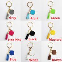 Email Monogrammrohlinge Samt Leder Quaste Schlüsselketten für Männer Auto und Frauen Tasche Anhänger Quatrefoil Monogrammed Wildleder Tassel Keychain