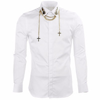 Wholesale-  Men's shirts  Long Sleeve Shirts Men with Chain Slim Fit Mens Dress Shirts Casual Chemise Homme Camisas Hombre Black