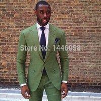 Wholesale- New Arrival 2 Button Peaked Lapel Green Suits For Men Tuxedo Wedding Groom Suit Best Man Groomsmen Tailored (Jacket+Pants+Tie)