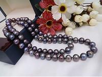 New Fine Perlen Schmuck Charming 9-10mm natürliche Tahitian Black Pearl Halskette 22 Zoll