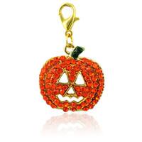 Langosta de Halloween broche encanto cuelga naranja amarillo Rhinestone calabaza máscara colgantes diy encantos para la joyería que hace accesorios