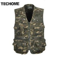 Atacado - TECHOME Multi bolso camuflagem colete homens Casual viagem Colete de algodão sem mangas de peixe Jaqueta Camo Caza Vest roupas retas