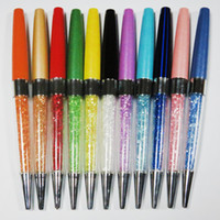 10pcs / lot Newest Crystal Pens Hermoso Diseño Diamante Ballpoint Pen llenado de cristal para el regalo de boda y la escuela de oficina