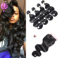 Brazilian Virgin Hair 4 Bundles with Closure Unprocessed Hum...