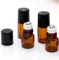 1ML 2ML Mikro Mini Döner Başlı Amber Cam Şişe Kahverengi Renk Rollon Paslanmaz Çelik Silindir Topu Şişe Esansiyel Yağ koku Testi Örnek