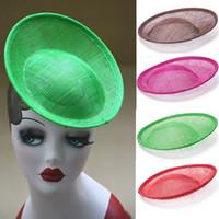Fashion Round Saucer Sinamay Inspired Percher Hat Fascinator Accessori per modisteria Artigianato DIY Pure Color B063