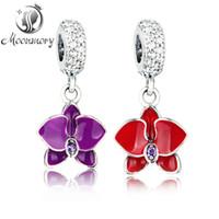 100% real s925 pendentif en argent fit bracelet pandora Orchid Hanging Charm en perle d'argent en forme de fleur en argent sterling