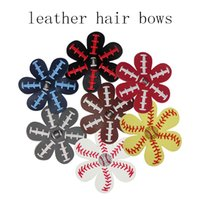 4 inch Softball Baseball Football Leather Hair Flower Haircl...